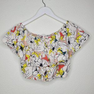 Astr the Label White Yellow Ruffled Linen Crop Top